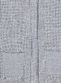 Grey Longline Textured Cardigan With Furry Pockets (3-14 years)
