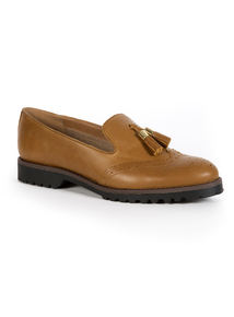 Premium Tan Leather Tassel Loafers