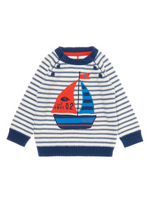 Boys Navy Striped Boat Jumper (0-24 months)