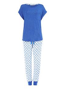Blue Marl Tile Print Pyjamas
