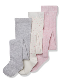 3 Pack Multicoloured Cotton Rich Tights