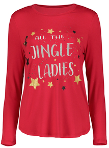 Red Christmas Slogan Long-Sleeved Top