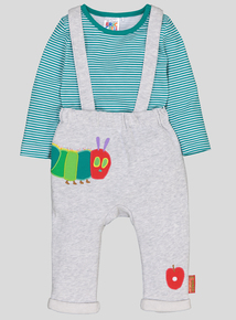 The Very Hungry Caterpillar Grey & Green 2 Piece Dungaree Set (0-24 months)