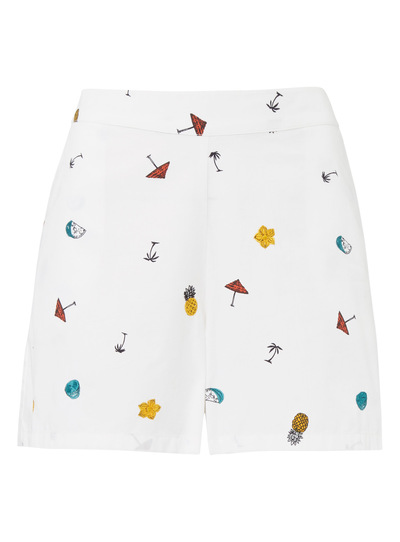 White Embroidered Print Shorts