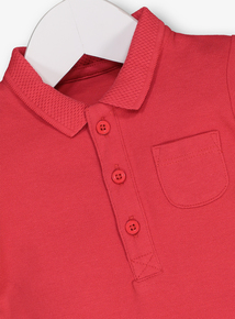Red Pique Polo Shirt With Built-In Bodysuit (0-24 months)