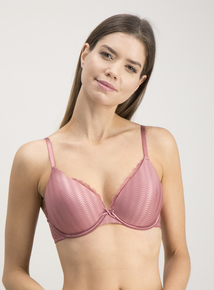 Dusty Rose & Navy Lace Trim Full Cup Bras 2 Pack