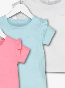 Multicoloured Pastel Frill T-Shirts 3 Pack (3-14 years)