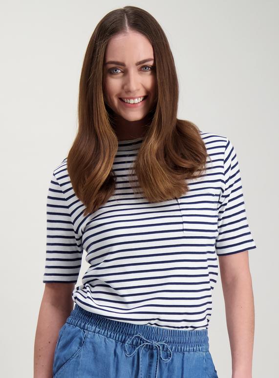 5969fc2a7b8978 Womens Navy Blue & White Striped T-Shirt | Tu clothing