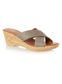 Gold Shimmer Wedge Sandals