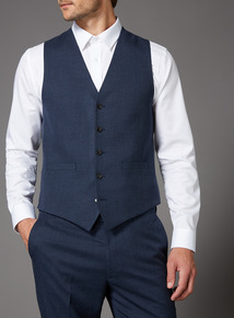 Blue Melange Slim Fit Suit Waistcoat
