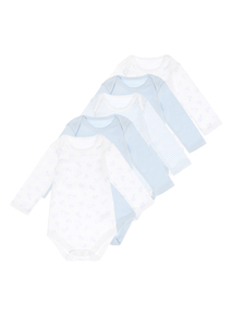 Blue And White Bodysuits 5 Pack (0-24 months)