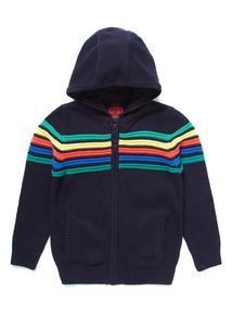 Navy Striped Zip Through Hoody (9 months - 6 years)