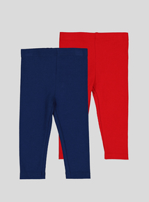 Navy & Red Rib Leggings 2 Pack (0-24 months)
