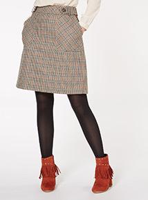 Multi-Coloured Checked Skirt