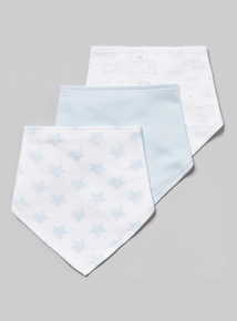 3 Pack White and Blue Star Print Hanky Bibs (one size)