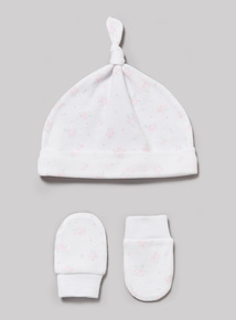Pink Scratch Mitt and Tie Top Hat Set (Newborn-24 months)