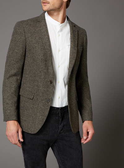 Brown Deconstructed Wool Mix Slim Fit Jacket