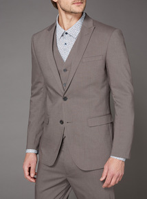 Light Brown Slim Fit Stretch Suit Jacket