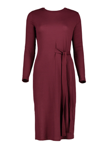 Burgundy Ribbed Midi Dress