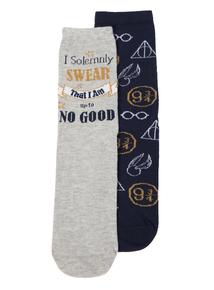 Harry Potter Blue & Navy Slogan Socks  2 Pack