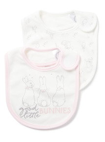 2 Pack White Peter Rabbit Bibs