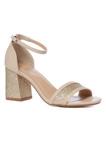 Metallic Glitter Block Heel Sandals