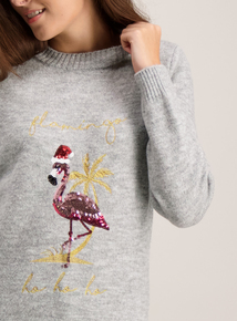 Grey ' Ho Ho Ho' Sequin Flamingo Jumper