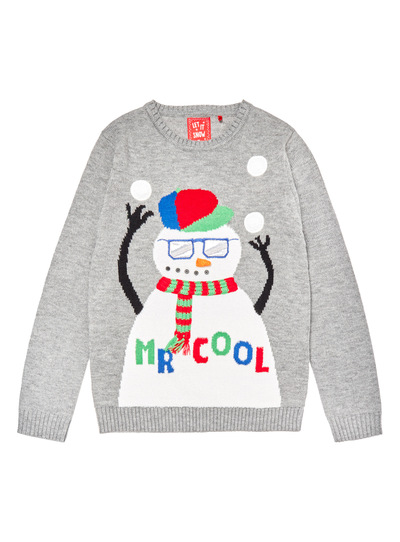 Grey Christmas Mr Cool Light Up Jumper (3-14 years)