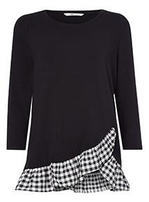 Black Gingham Ruffle Hem T-Shirt