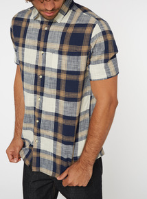 Brown Checked Relaxed Fit Shirt