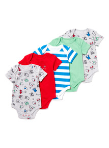 5 Pack Multicoloured Dog Bodysuits (0-24 months)