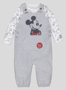 Disney Mickey Mouse Grey Dungaree Set (0-24 months)
