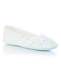 Blue Lace Ballerina Vintage Slippers