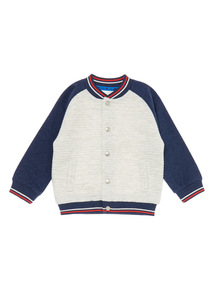 Boys Grey Raglan Baseball Jacket (0-24 months)