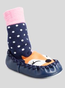 Multicoloured Moccasin Slipper Socks (newborn - 36 Months)