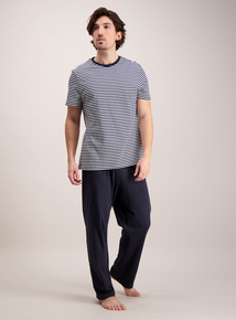 Navy Blue Striped Pyjama Set