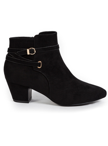 Sole Comfort Black Buckle Strap Ankle Boots