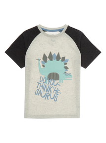 Boys Cream Dino With Glasses T-shirt (9 months-5 years)