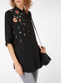 Embroidered Longline Shirt Dress
