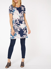 Multicoloured Floral Patchwork Printed Tunic