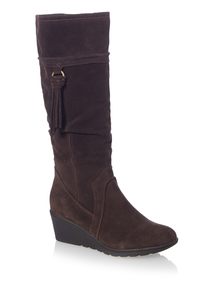 Brown Wedge Suede Long Boot
