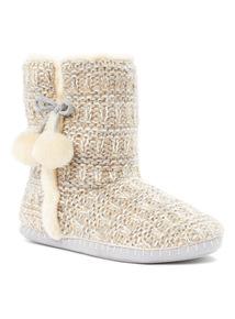 Oatmeal Boot Slippers