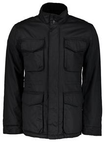 Black Waxed Effect Corduroy Trim Jacket