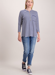Navy Striped Zip Front Top