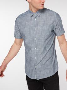 Blue Textured Cotton Shirt
