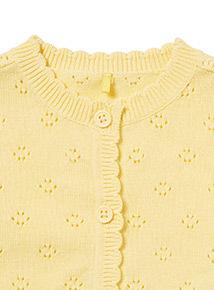Yellow Pointelle Shrug Cardigan (0-24 months)