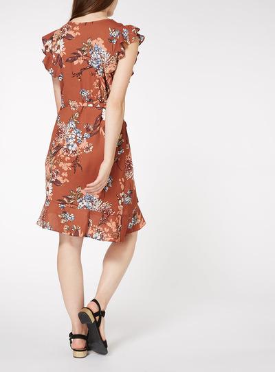 Multicoloured Floral Asymmetric Hem Dress