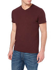 Dark Red Basic V-neck T-shirt