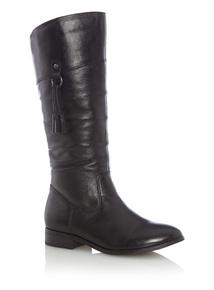 Black Long Leather Tassel Boots