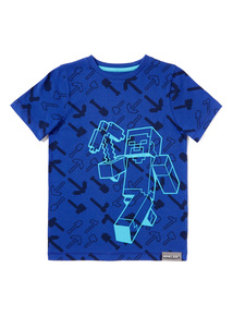 Blue Minecraft Print T-shirt (3-14 years)